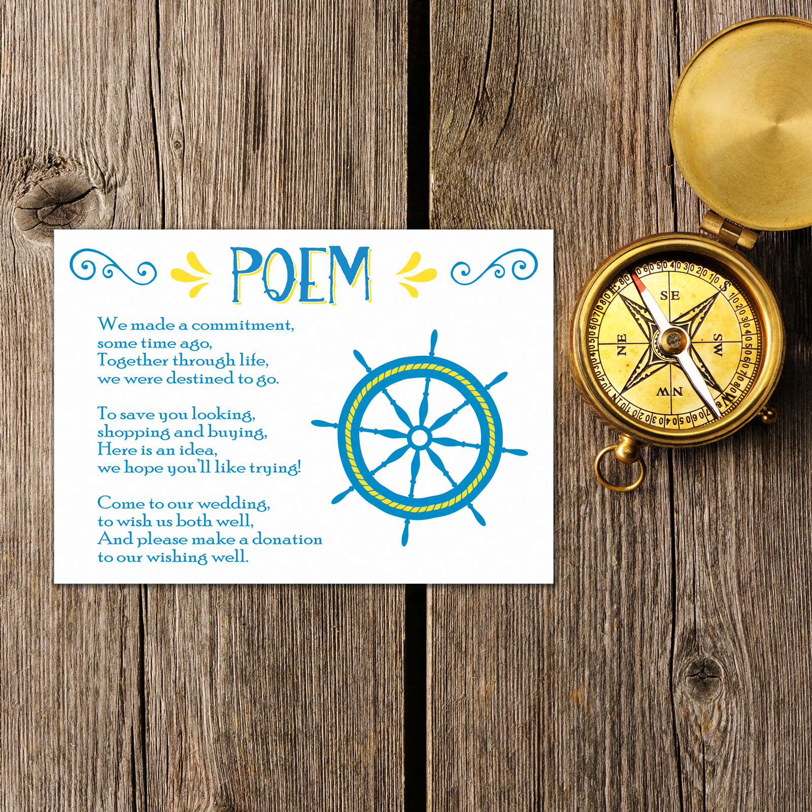 Nautical Blue & Yellow on White Card - Poem Card