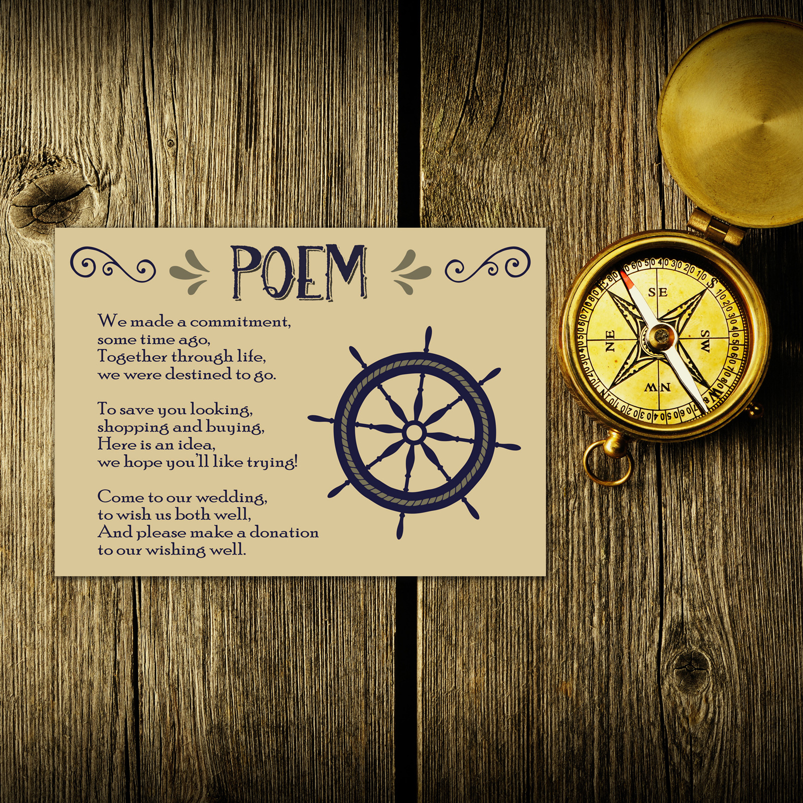 Nautical Blue & Silver on Ivory Card - Poem Card