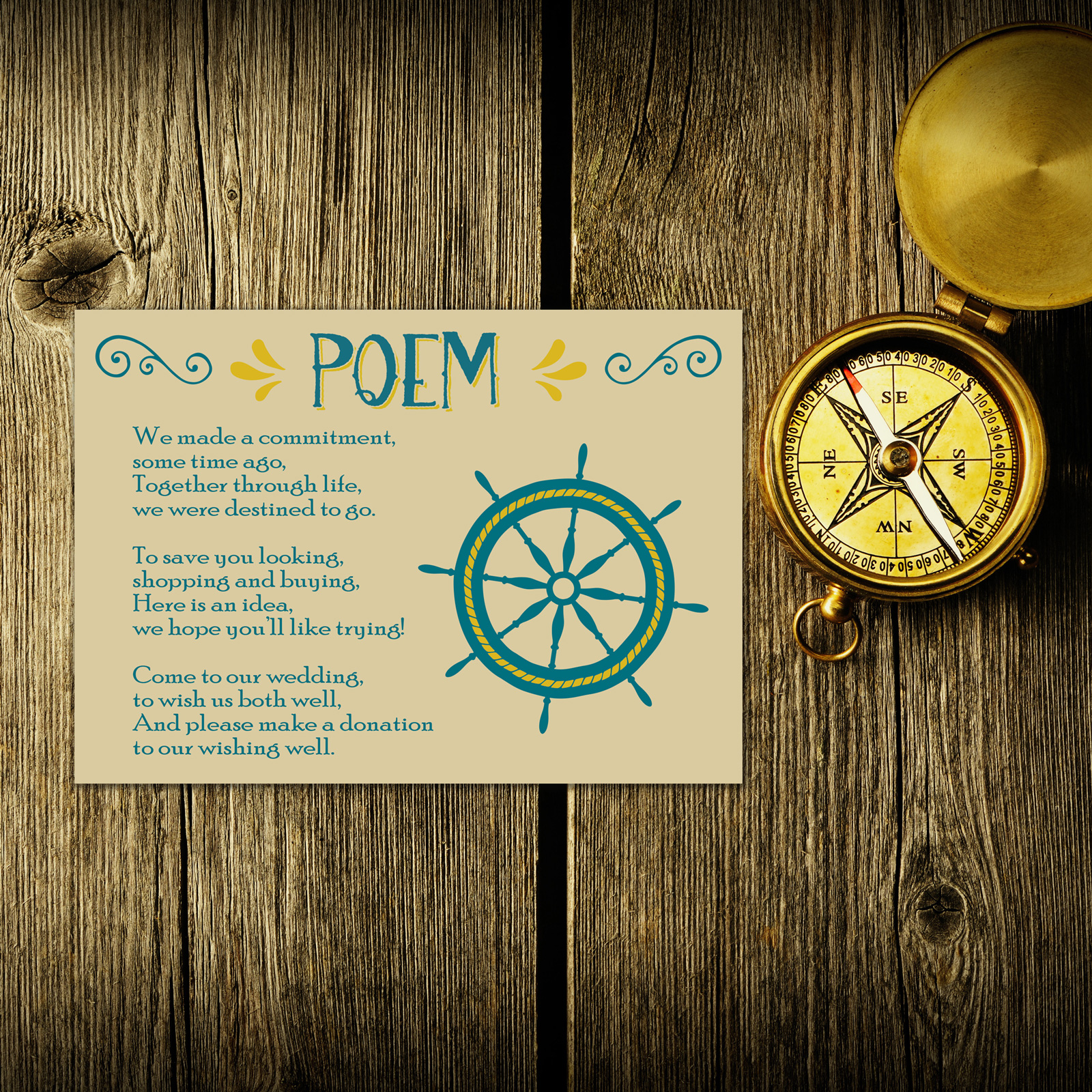 Nautical Blue & Yellow on Ivory Card - Poem Card