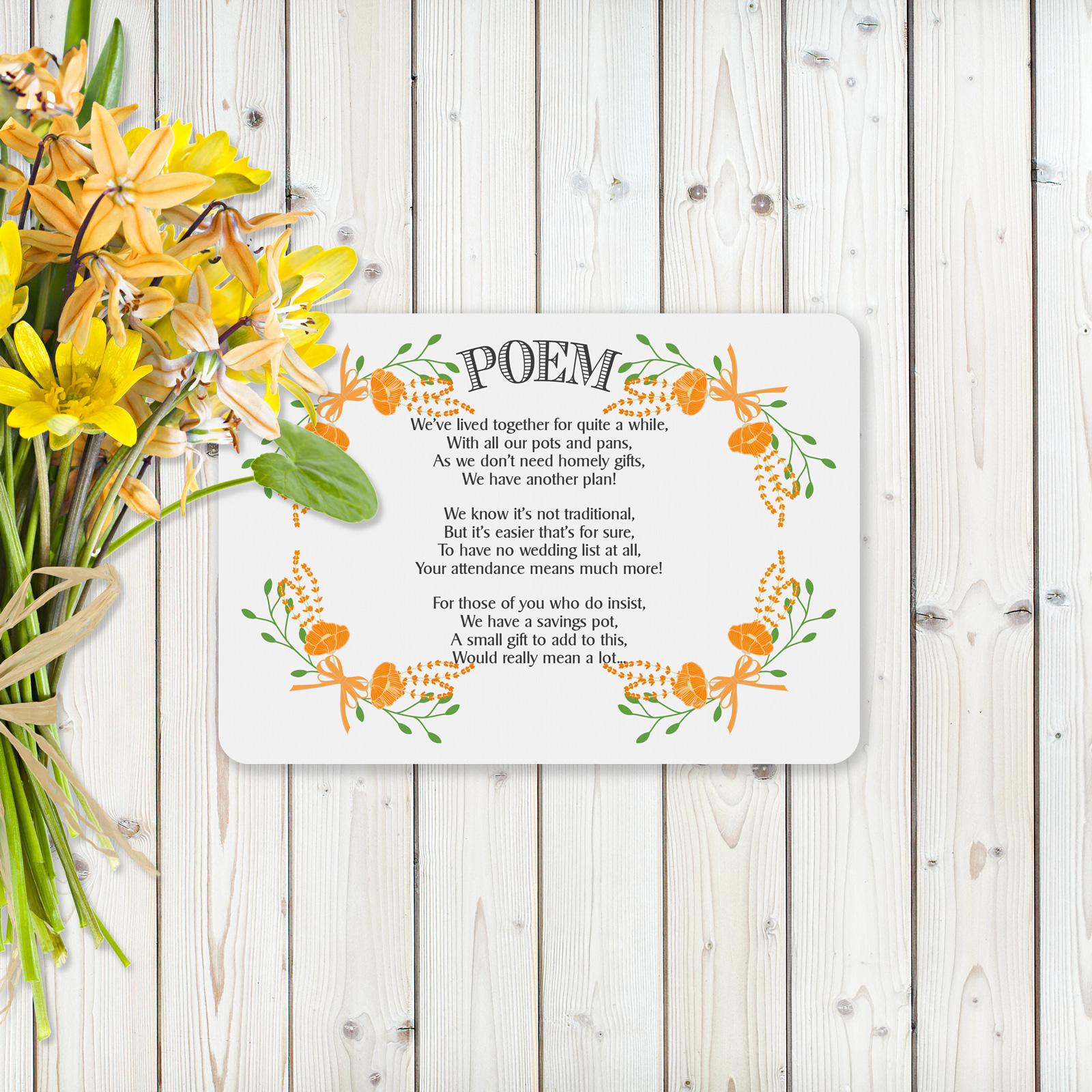 Floral Fantasy Orange on White Card - Poem Card
