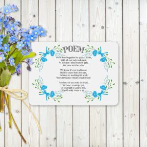Fantasy Floral Blue on White Card - Poem Cards
