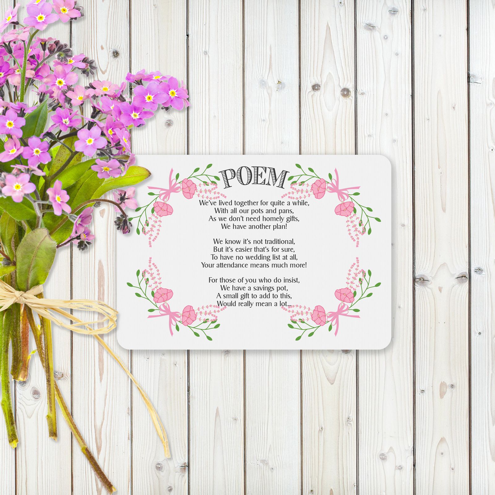 Floral Fantasy Pink on White Card - Poem Card
