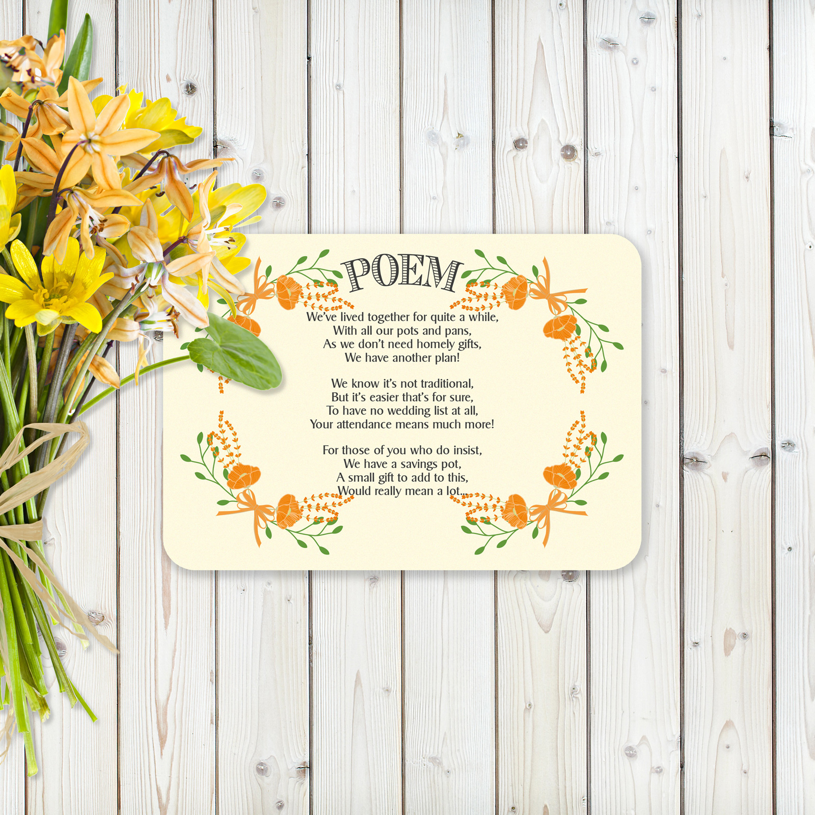 Floral Fantasy Orange on Ivory Card - Poem Cards