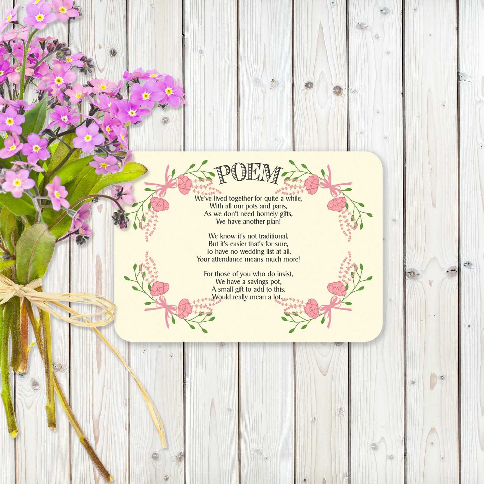 Floral Fantasy Pink on Ivory Card - Poem Cards
