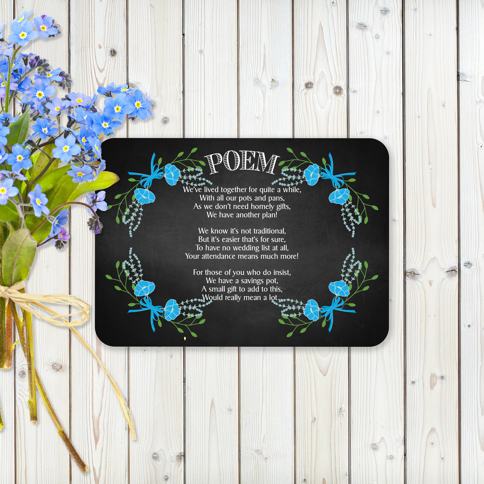 Floral Fantasy Blue on Chalkboard - Poem Card
