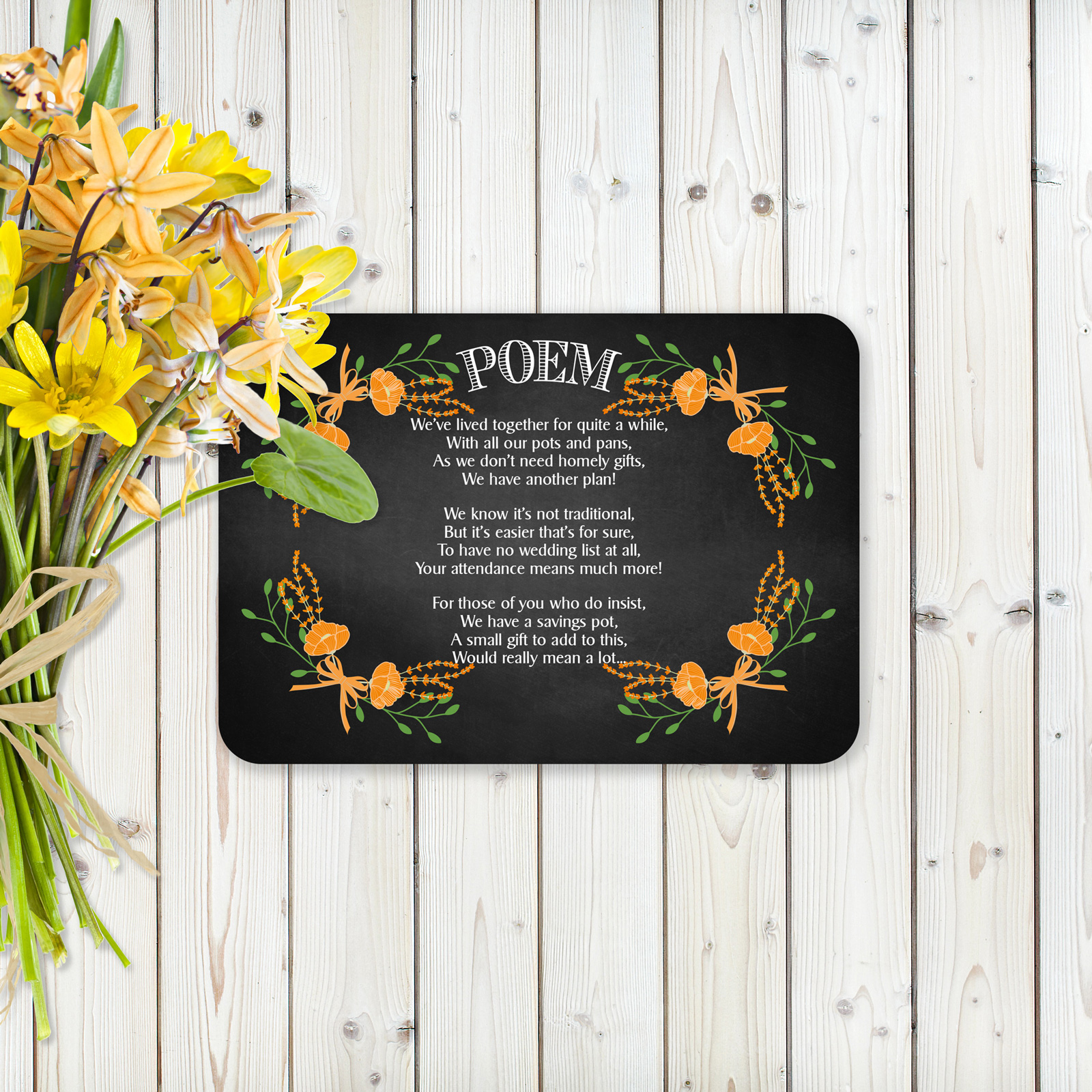 Floral Fantasy Orange on Chalkboard - Poem Card