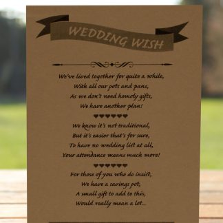 Wedding Fete on Buff Card - Poem Card