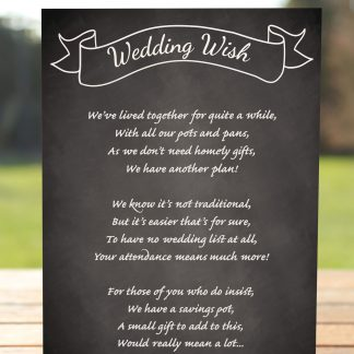 Wedding Fete on Chalkboard - Poem Card