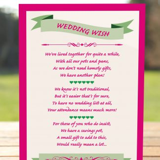 Wedding Fete Fuchsia Pink & Green - Poem Card