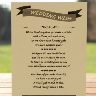 Wedding Fete on Ivory Card - Poem Card