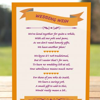 Wedding Fete Burnt Orange & Purple - Poem Card