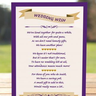 Wedding Fete Cadbury Purple & Gold - Poem Card