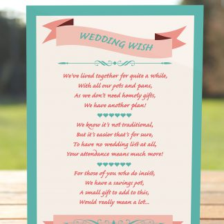 Wedding Fete Turquoise & Coral - Poem Card