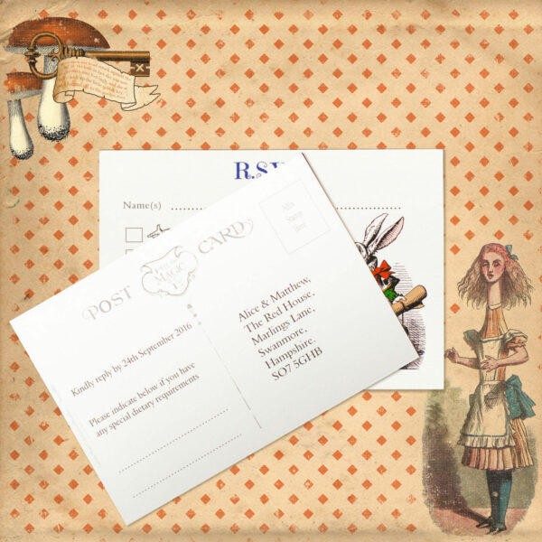 Vintage Alice on White Card - RSVP Postcard
