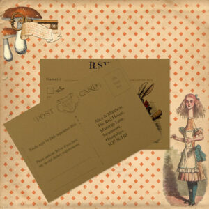 Vintage Alice on Buff Card - RSVP Postcard