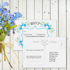 Floral Fantasy Blue on White Card - RSVP Card