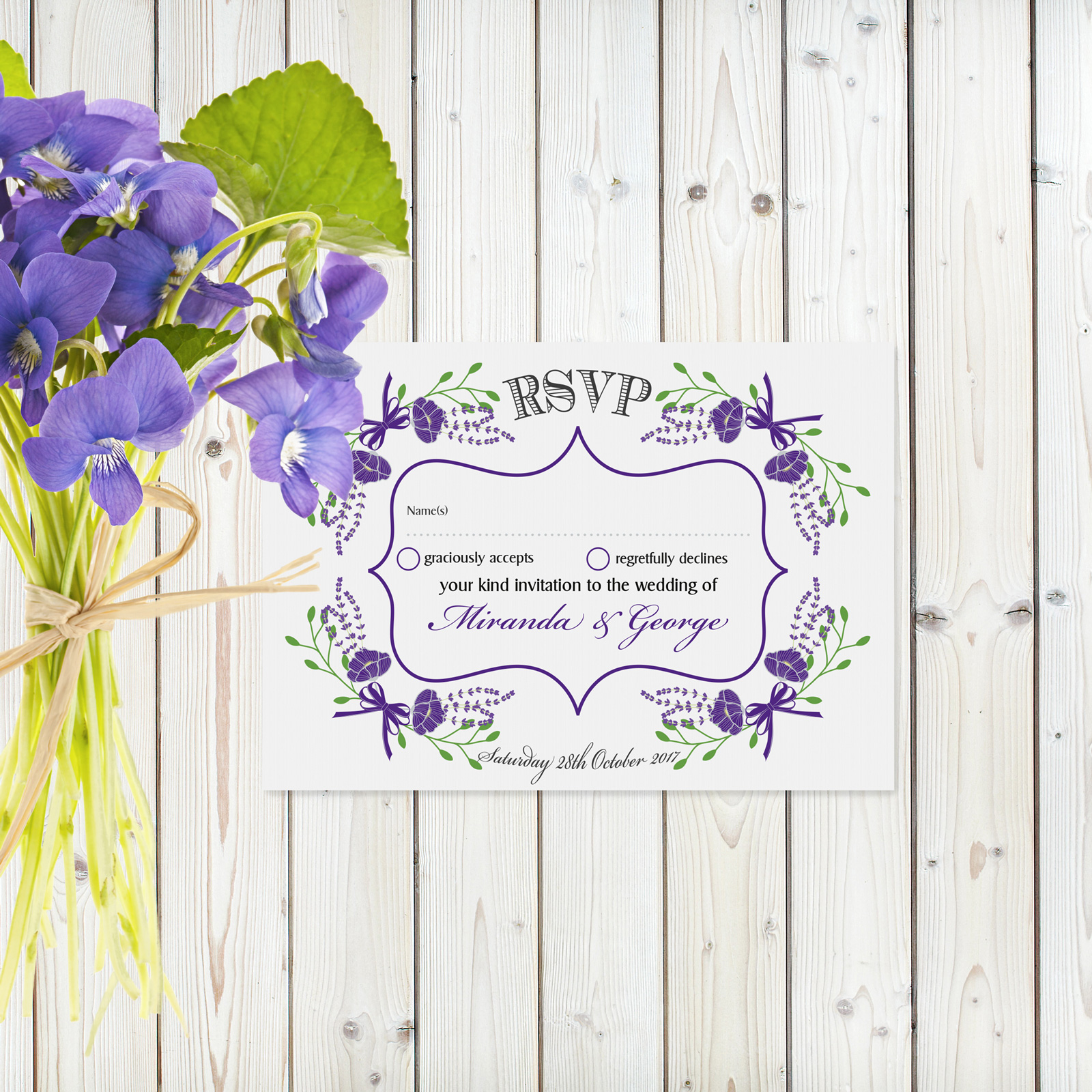 Floral Fantasy Purple on White Card - RSVP Card