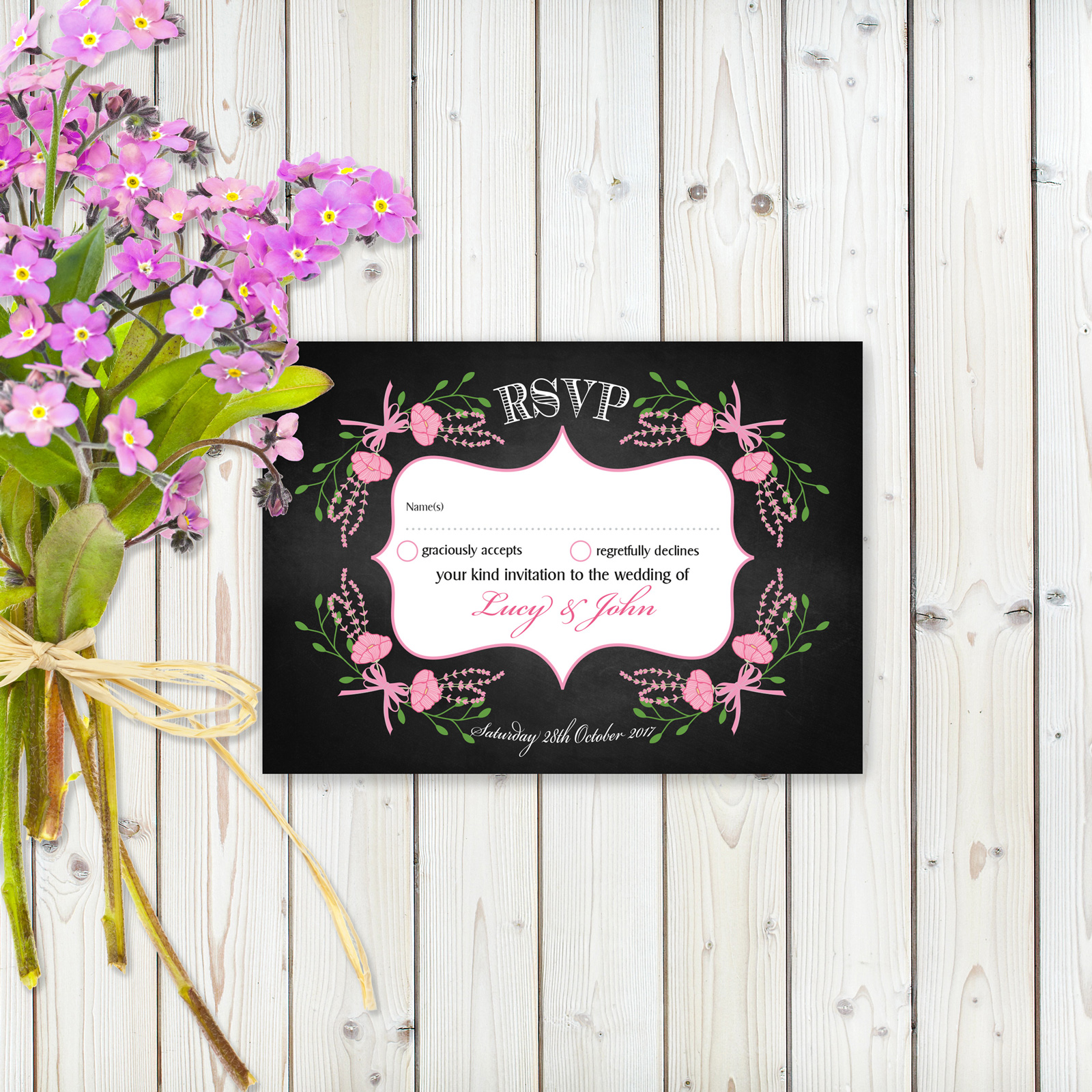 Floral Fantasy Pink on Chalkboard - RSVP Cards