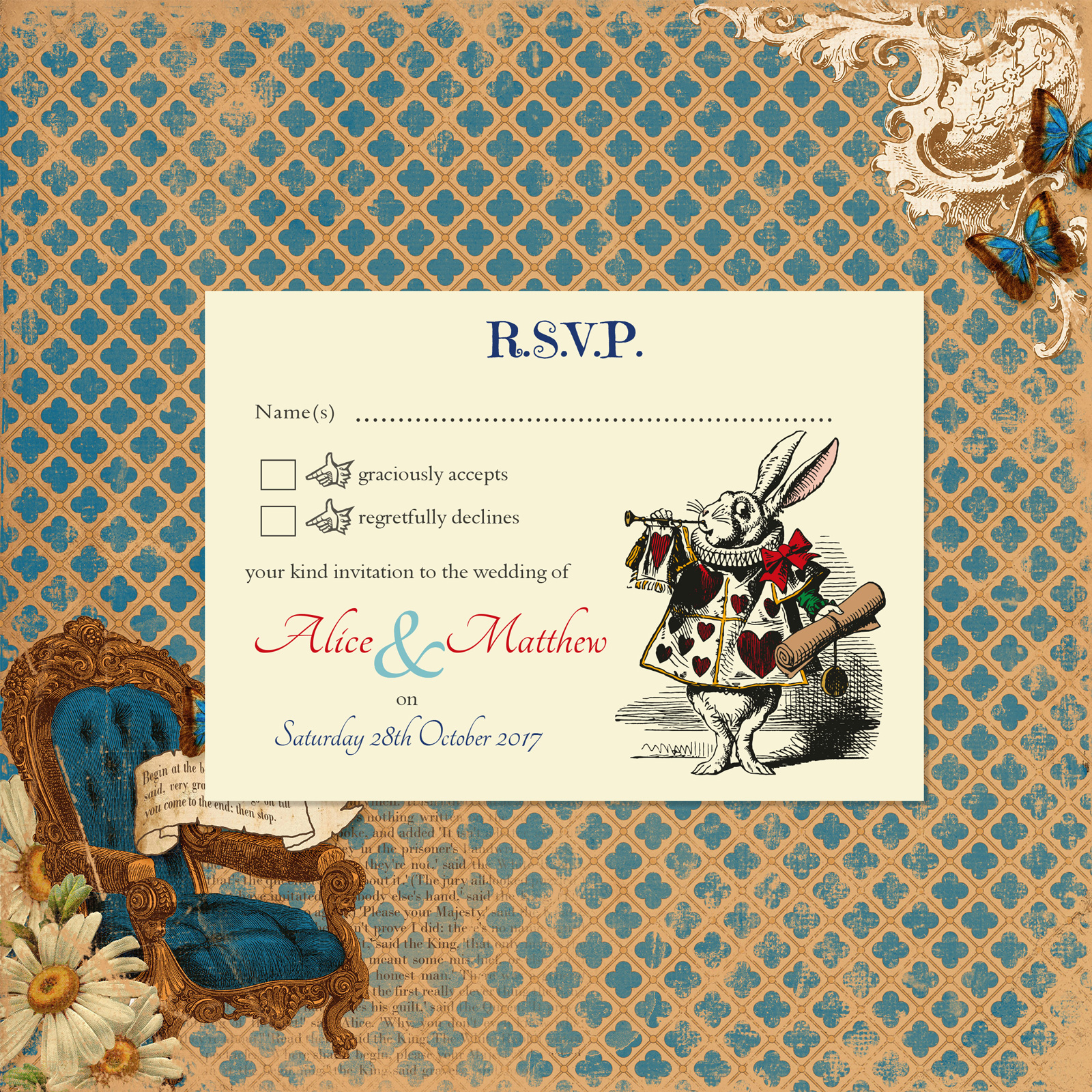 Vintage Alice on Ivory Card - RSVP Postcard