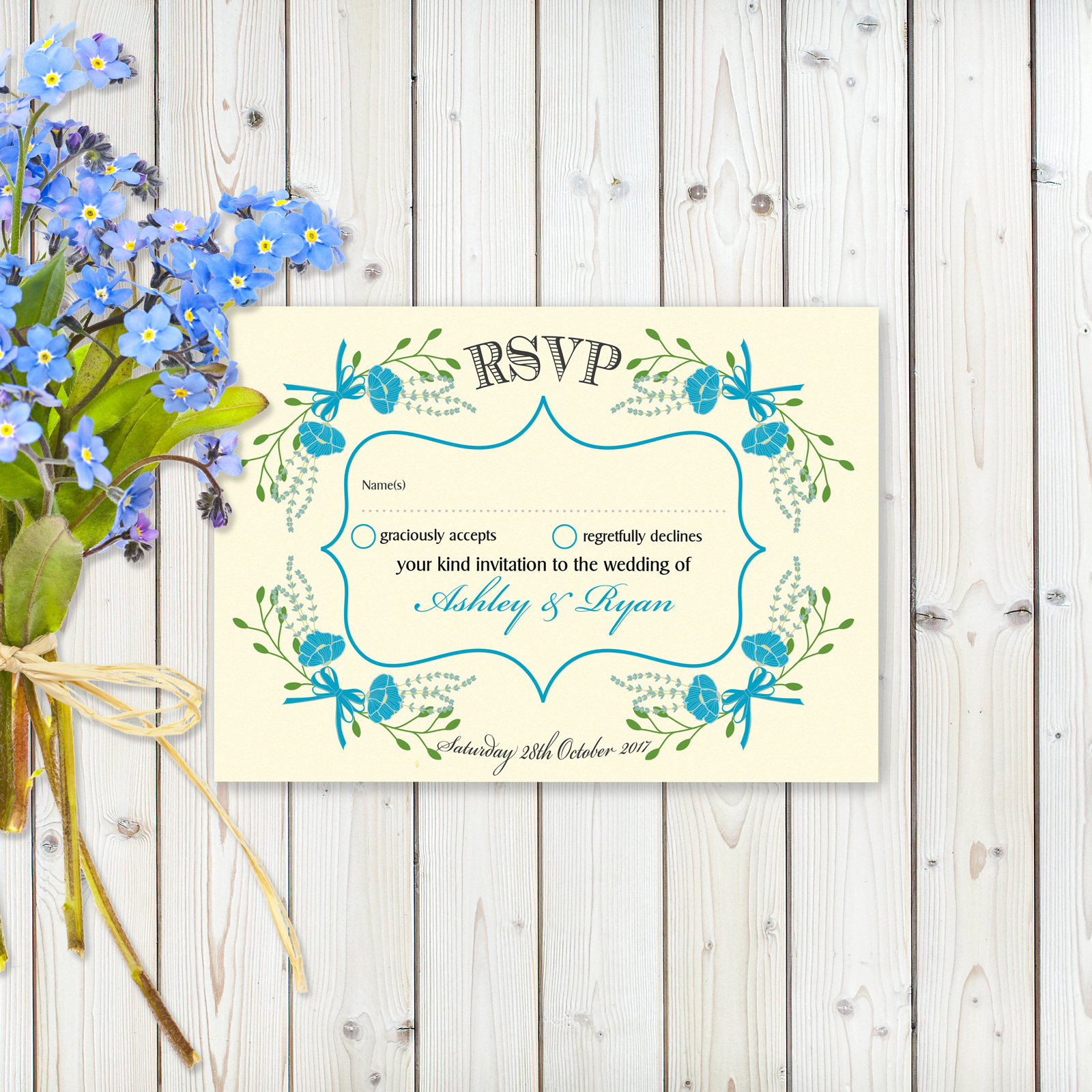 Floral Fantasy Blue on Ivory - RSVP Card