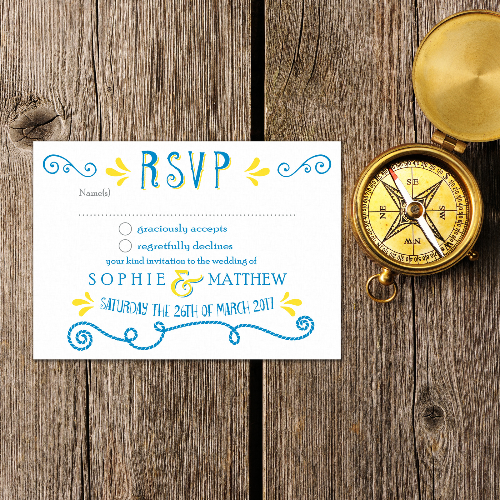 Nautical Blue & Yellow on White Card - RSVP Postcard