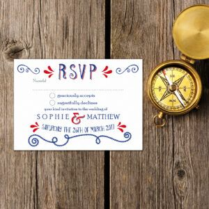 Nautical Blue & Red on White Card - RSVP Postcard