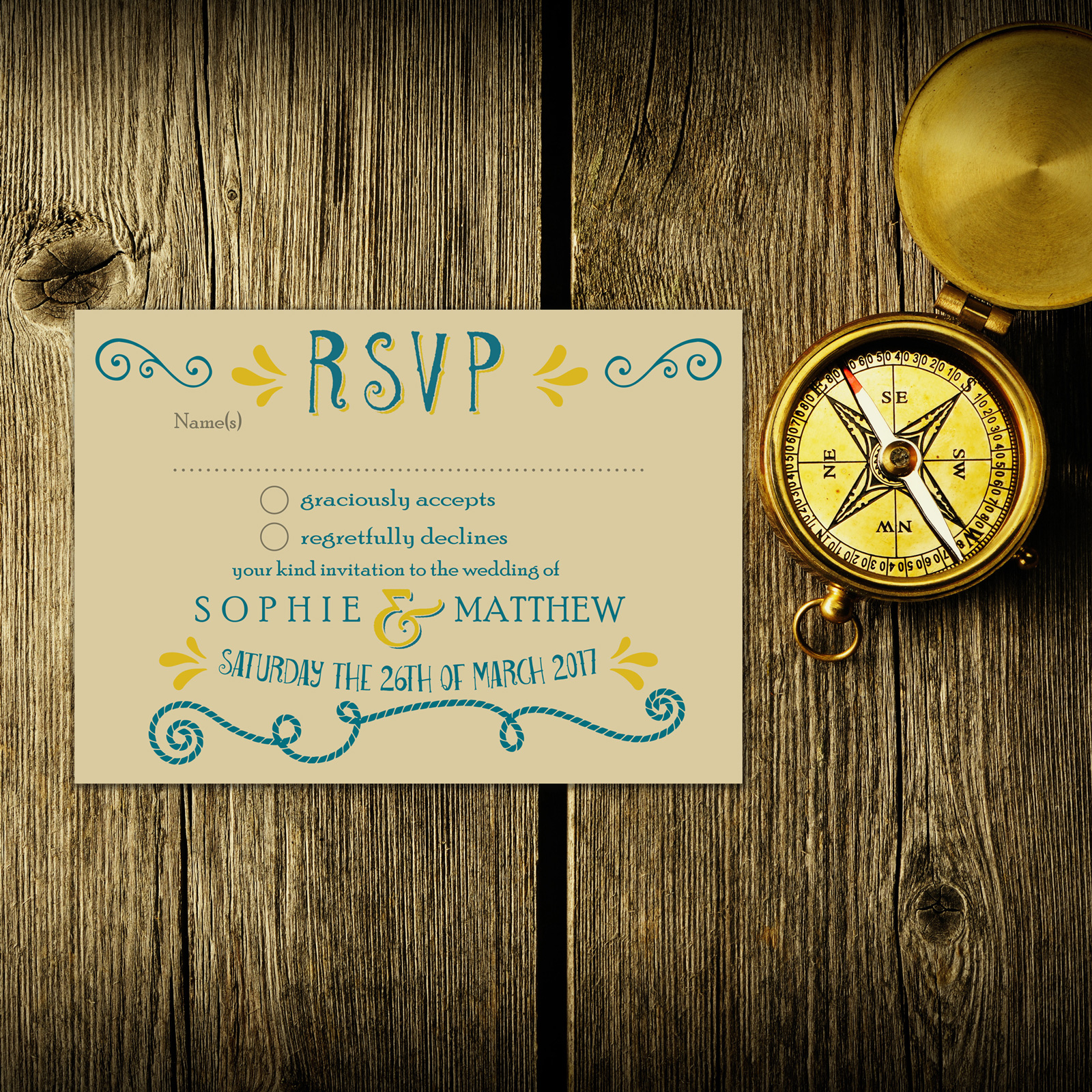 Nautical Blue & Yellow on Ivory Card - RSVP Postcard