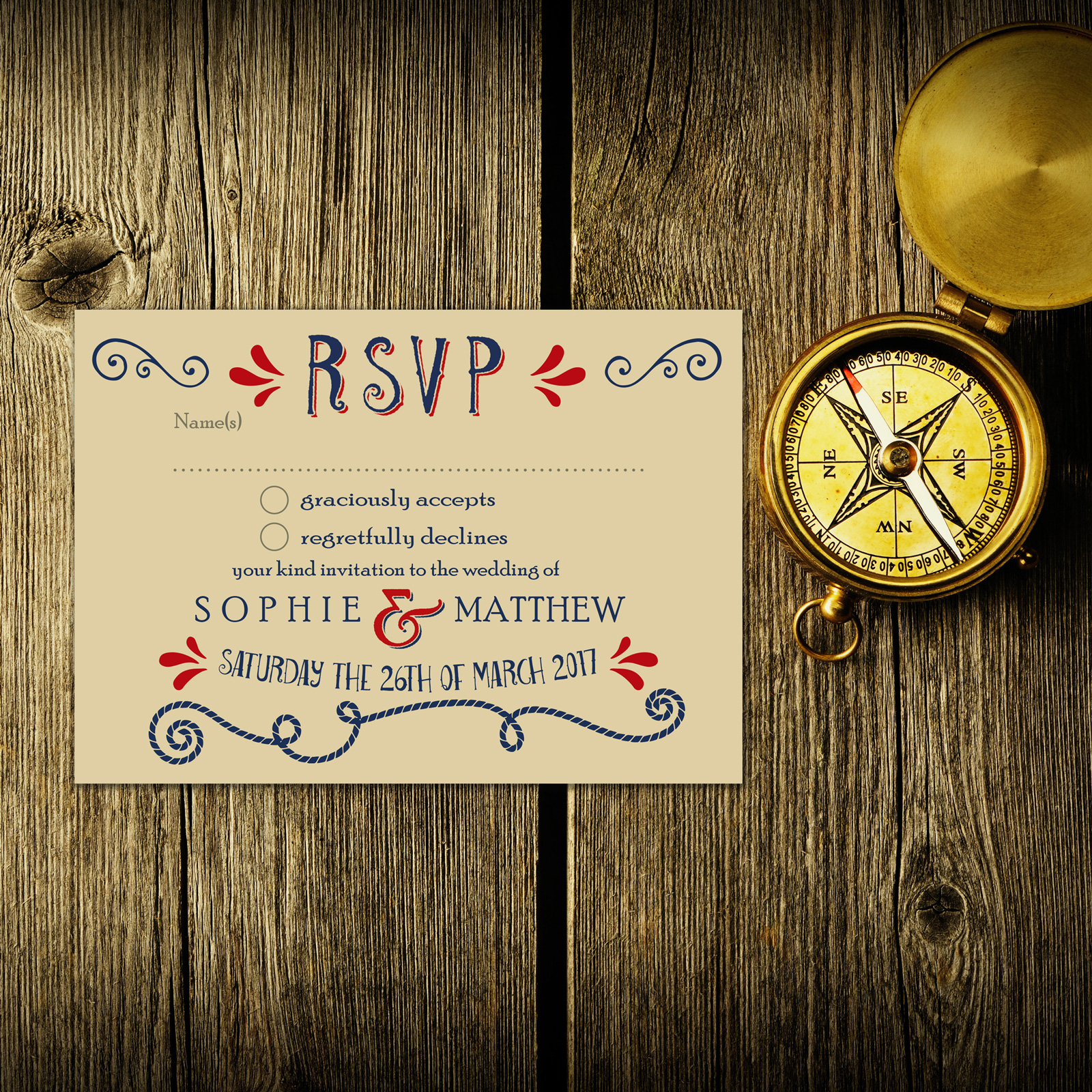 Nautical Blue & Red on Ivory Card - RSVP Postcard