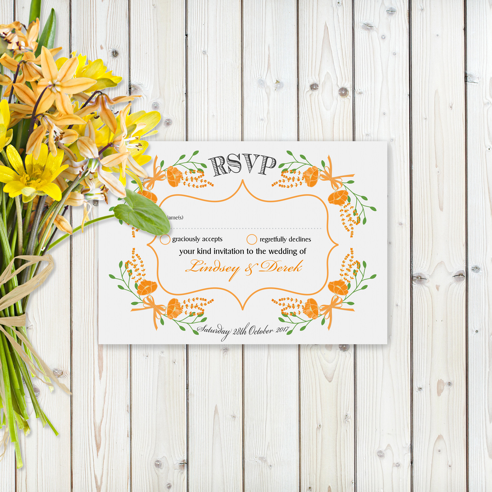 Floral Fantasy Orange on White Card - RSVP Card