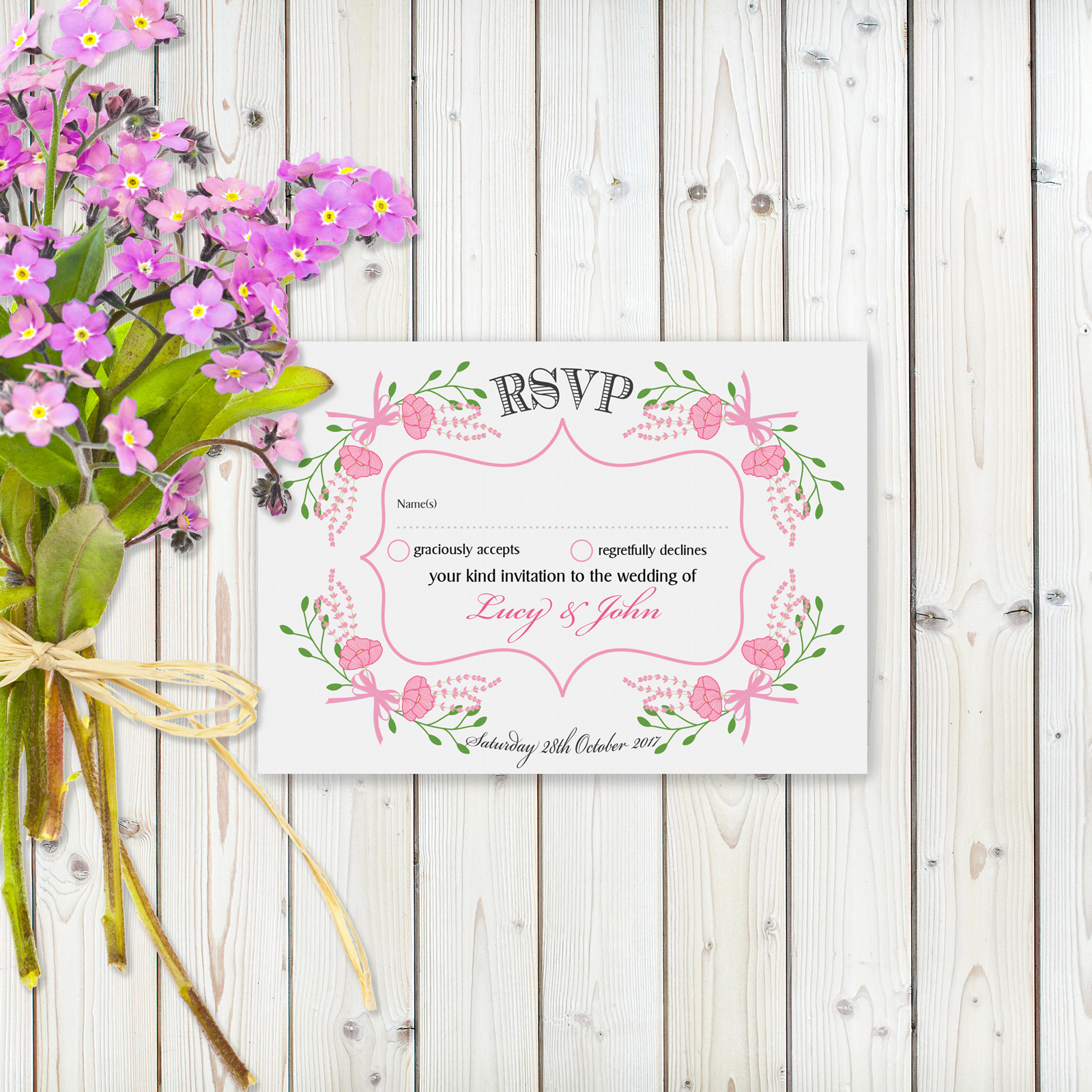 Floral Fantasy Pink on White Card - RSVP Card