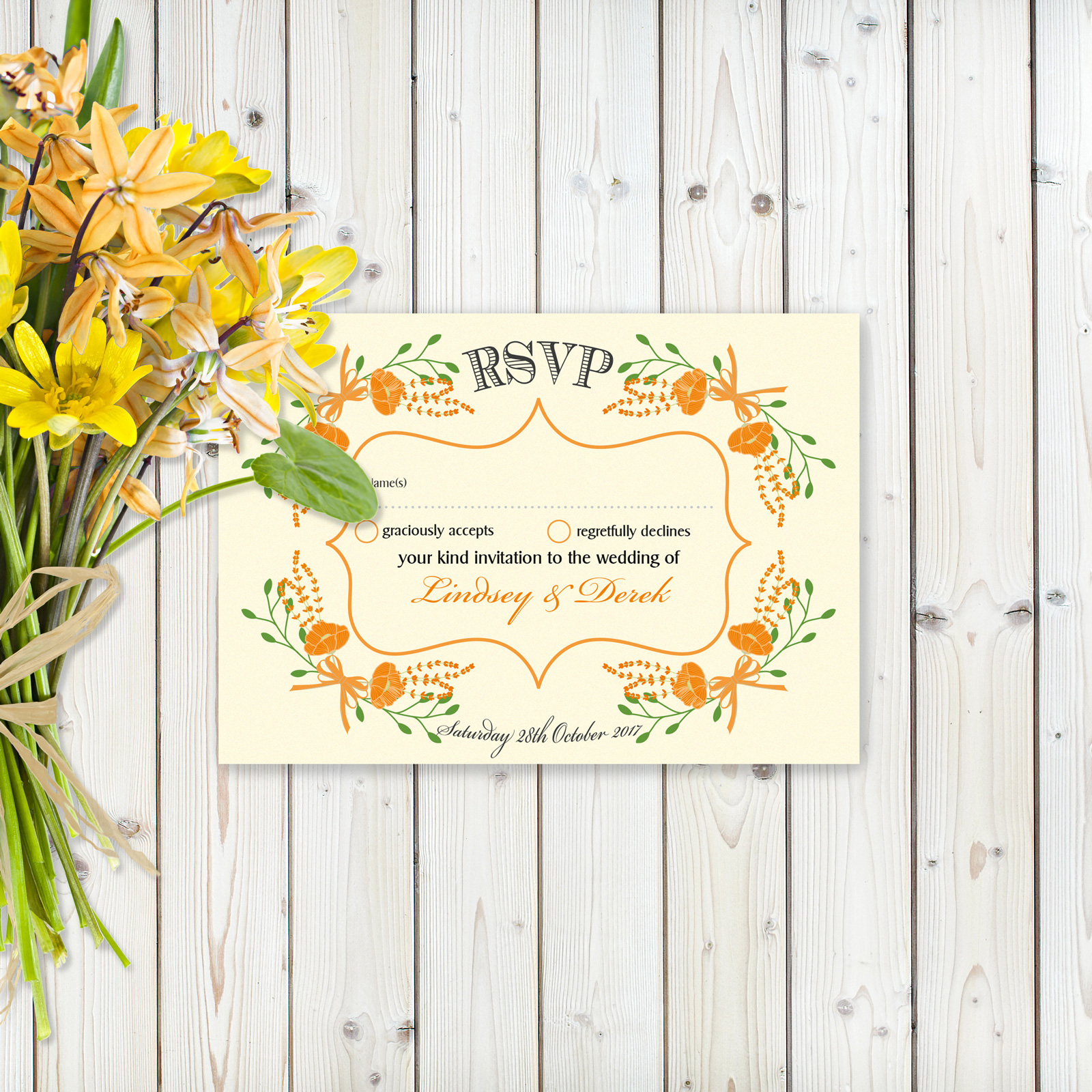 Floral Fantasy Orange on Ivory Card - RSVP Card