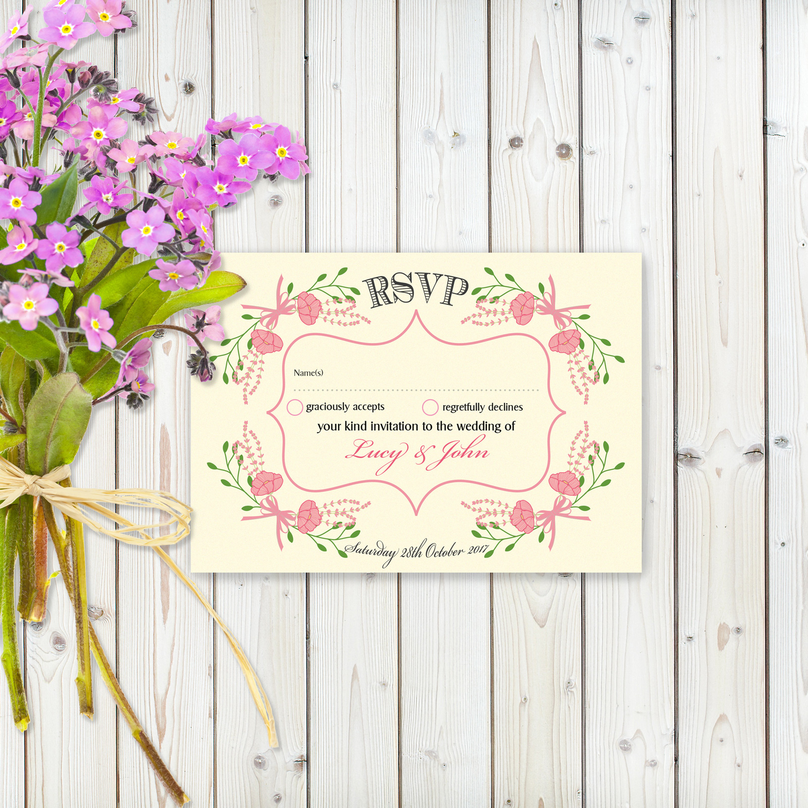 Floral Fantasy Pink on Ivory Card - RSVP Card