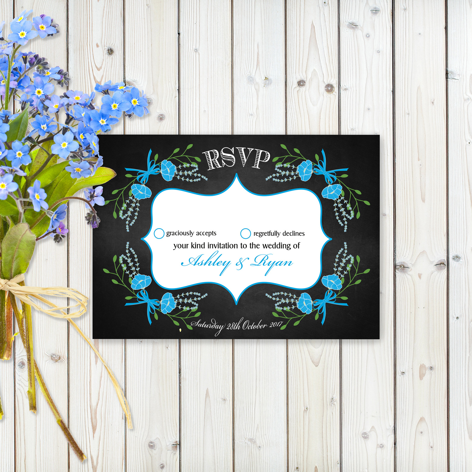 Floral Fantasy Blue on Chalkboard - RSVP Cards
