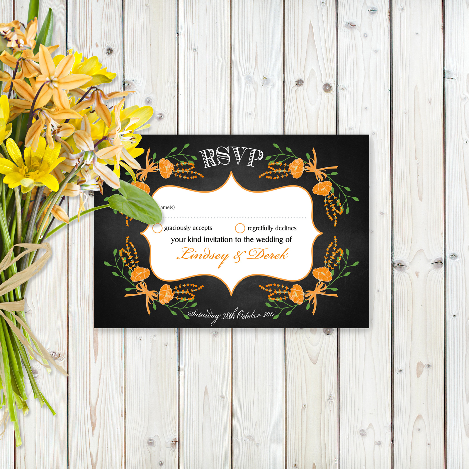 Floral Fantasy Orange on Chalkboard - RSVP Cards