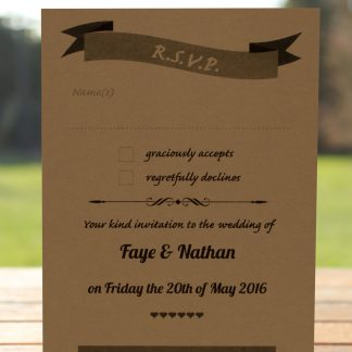 Wedding Fete on Buff Card - RSVP Postcard