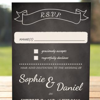 Wedding Fete on Chalkboard - RSVP Postcard