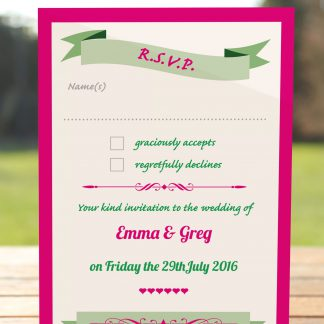 Wedding Fete Fuchsia Pink & Green - RSVP Postcard