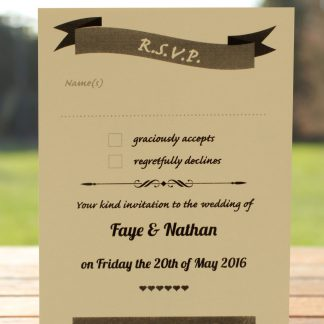 Wedding Fete on Ivory Card - RSVP Postcard