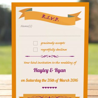 Wedding Fete Burnt Orange & Purple - RSVP Postcard