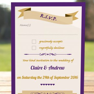 Wedding Fete Cadbury Purple & Gold - RSVP Postcard