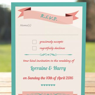 Wedding Fete Turquoise & Coral - RSVP Postcard