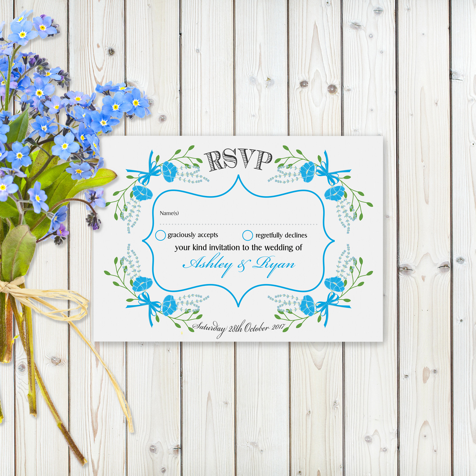 Fantasy Floral Blue on White - RSVP