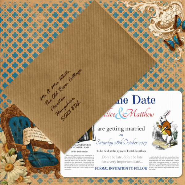 Vintage Alice on White Card - Save the Date Card