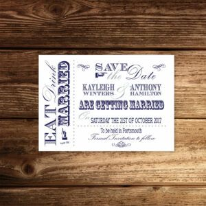 Vintage Fayre Navy on White Card - Save the Date Cards
