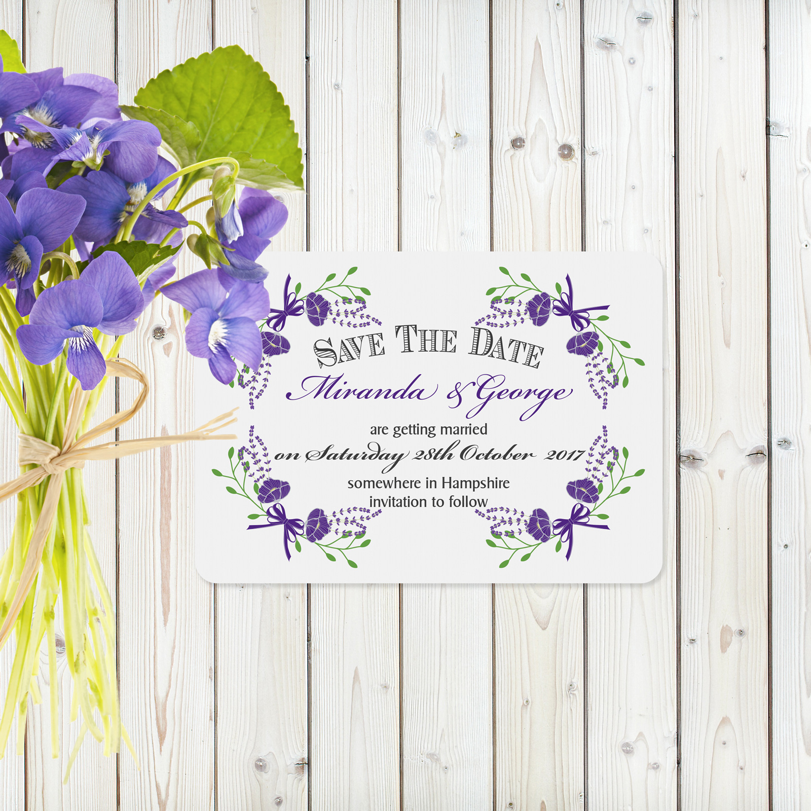 Floral Fantasy Purple on White Card - Save the Date Cards