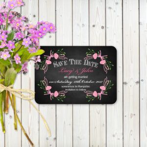 Floral Fantasy Pink on Chalkboard - Save the Date Cards