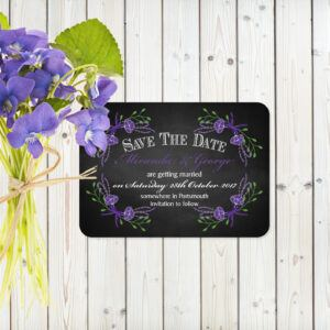 Floral Fantasy Purple on Chalkboard - Save the Date Cards