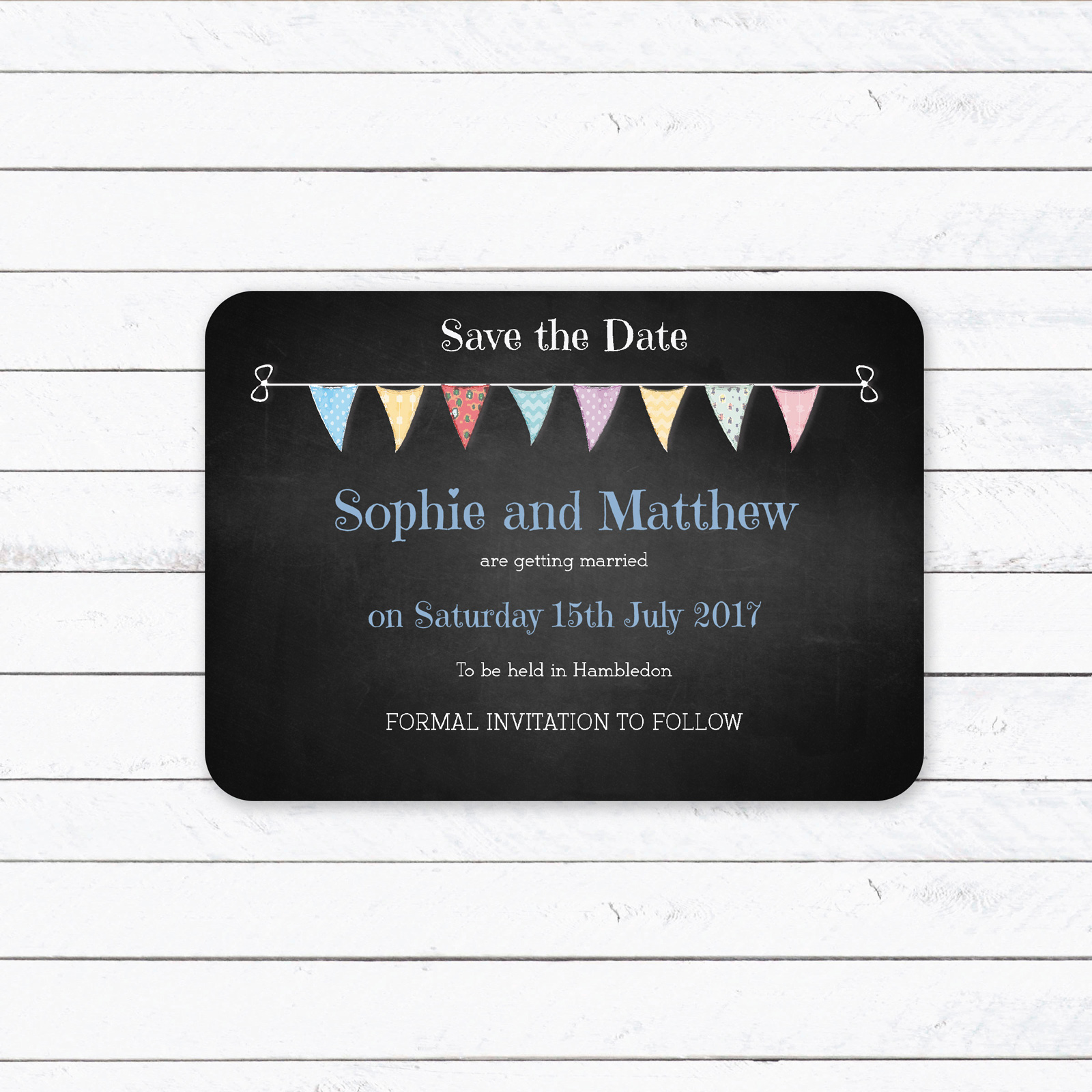 Festival Bunting on Chalkboard - Save the Date Cards