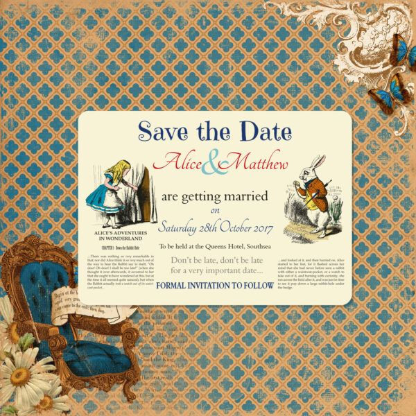 Vintage Alice on Ivory Card - Save the Date Card