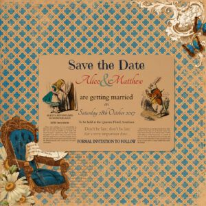 Vintage Alice on Buff Card - Save the Date Card